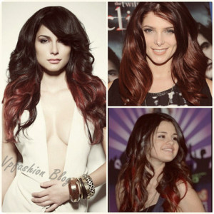 celebrity-wavy-brown-and-red-ombre-medium-hairstyles-2013