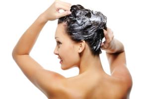 Adult woman washing head