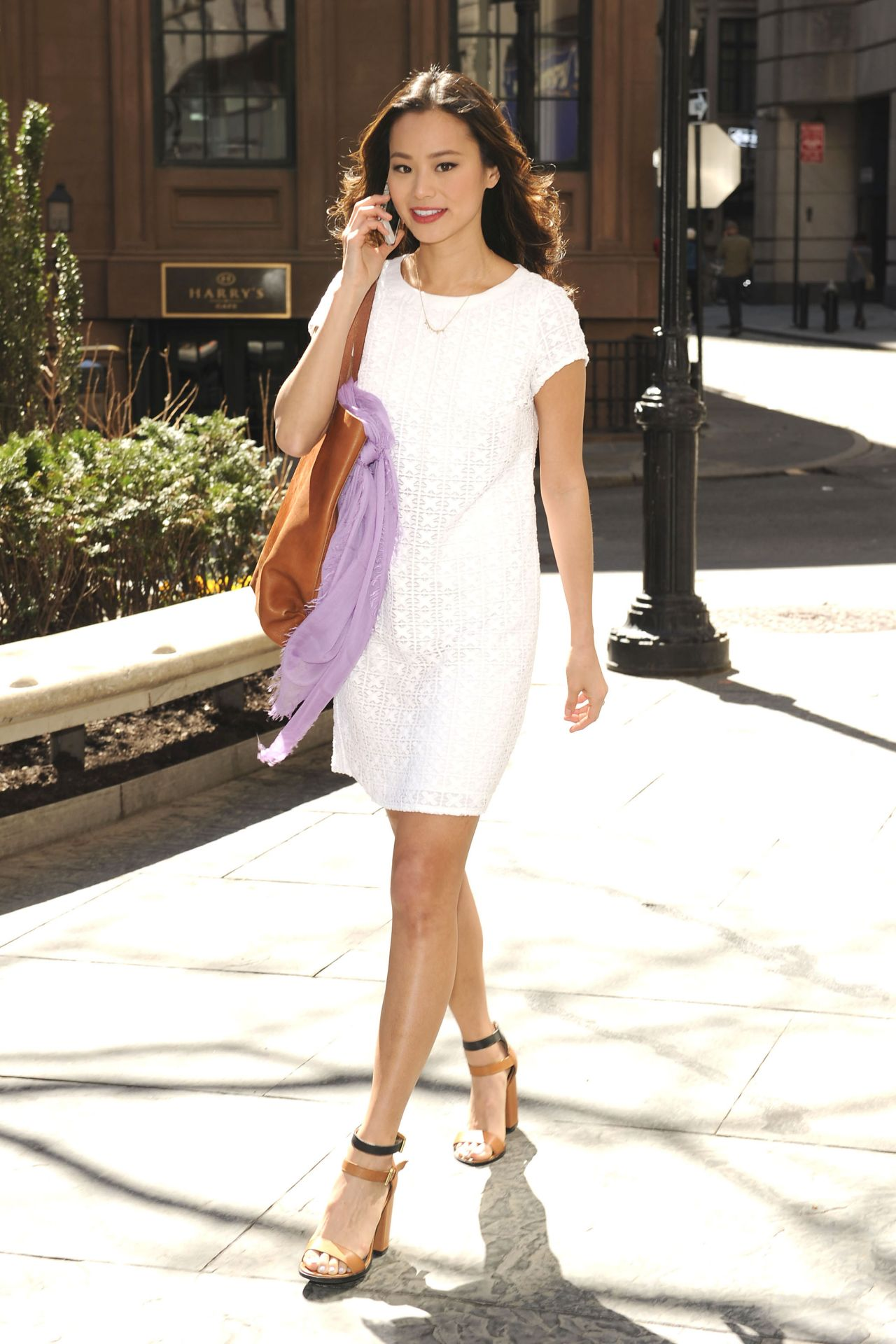 Jamie-Chung-white-dress-and-strappy-sandals