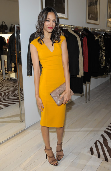 Zoe+Saldana pencil dress